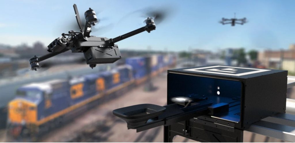 drone with view of a train behind it